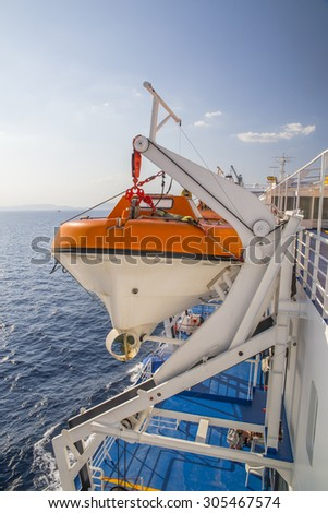 ship vessel rescue boat - stock photo