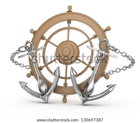 ship wheel and anchors isolated on white. 3d rendered image