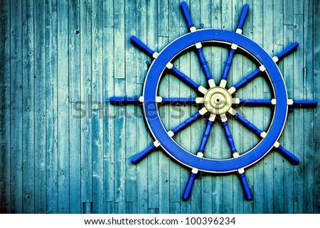 Ship Wheel background - stock photo