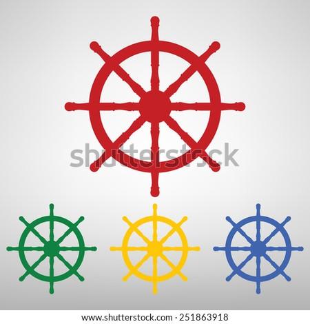 Ship wheel.  illustration - stock photo