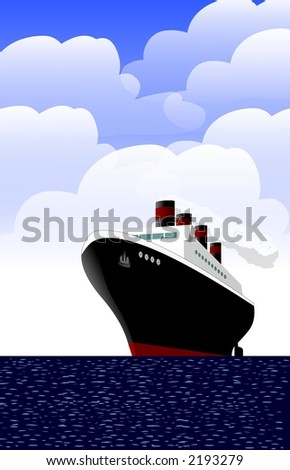 Ship with clouds