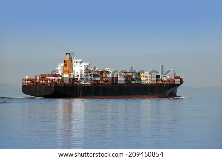 Ship with containers, sea transportation - stock photo
