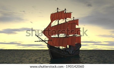 ship with red sales in the ocean - stock photo