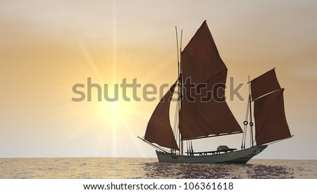 ship with red sales in the ocean in sunset - stock photo