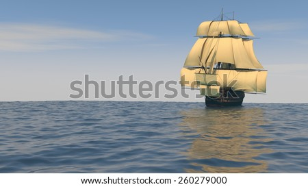 ship with yellow sales in the ocean - stock photo