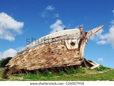 ship wreck - stock photo