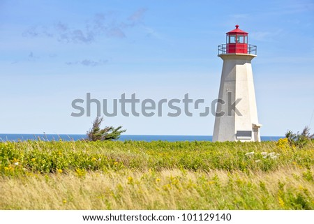 Ship Wreck Point Lighthouse in rural Prince Edward Island, Canada. - stock photo