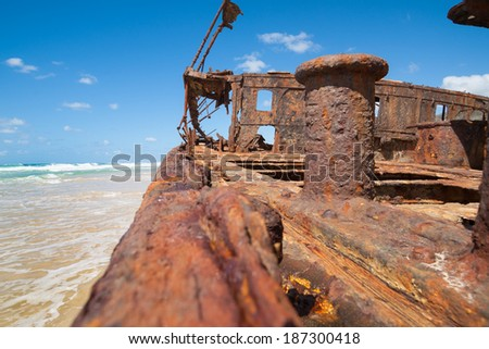 Ship wreck remains, a bollard on the deck of the Maheno still remains but is slowing rusting away. - stock photo