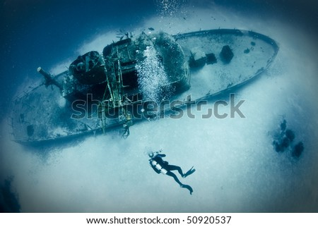 ship wreck underwater - stock photo