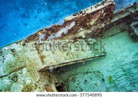 Ship Wreck underwater while diving - stock photo