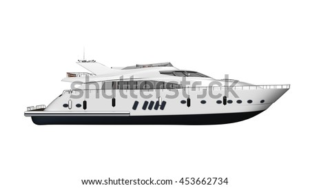 Ship, yacht, luxury boat, vessel isolated on white background, side view, 3D illustration