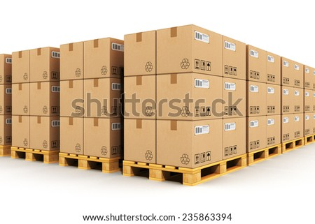 Shipment, logistics, delivery and product distribution business industrial concept: storage warehouse with rows of stacked cardboard boxes on wooden shipping pallets isolated on white background - stock photo