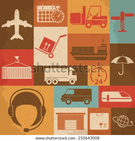 Shipping and Logistics Retro Icons. Raster version - stock photo