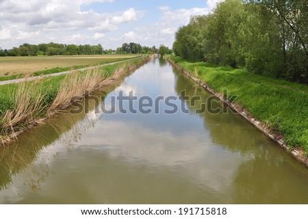 shipping Bata s navigation channel near Uherske Hradiste,Czech republic - stock photo