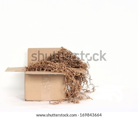 Shipping Box with Environmentally Friendly Packing Materials - stock photo
