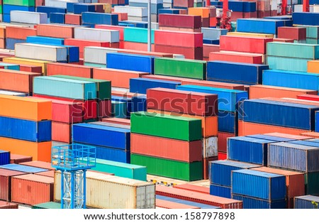shipping container yard closeup in shanghai seaport - stock photo