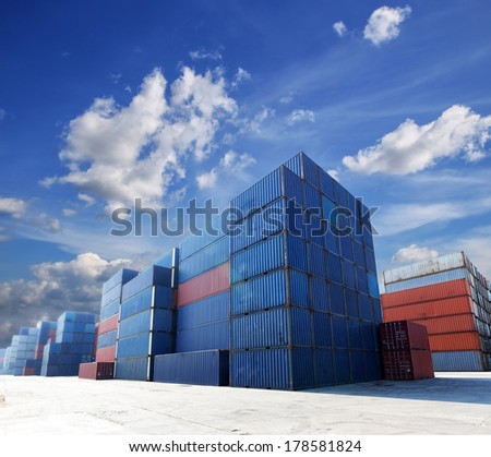Shipping containers at the docks  - stock photo
