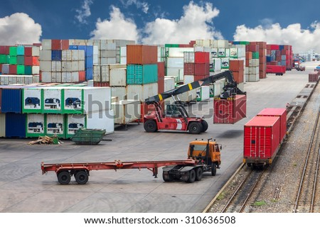 Shipping containers from the warehouse to the dock. - stock photo