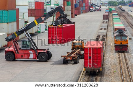 Shipping containers from the warehouse to the dock.