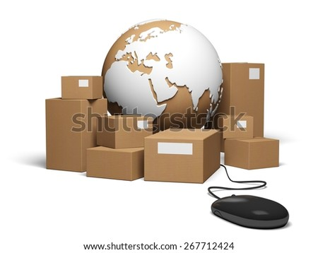Shipping. 3D. Worldwide Delivery - stock photo