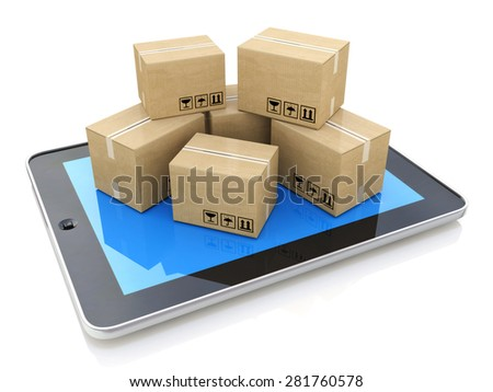 Shipping, delivery and logistics technology business industrial concept: heap of stacked corrugated cardboard package boxes on tablet computer PC - stock photo