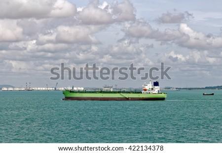 Shipping lanes to Singapore - stock photo