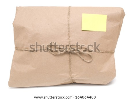 shipping package isolated on white - stock photo