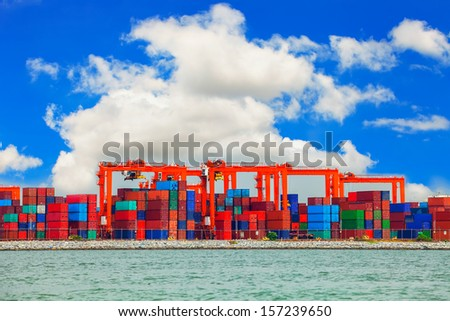 Shipping port in Thailand. - stock photo