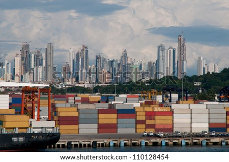 Shipping port showing several cargo containers in Panama City - stock photo