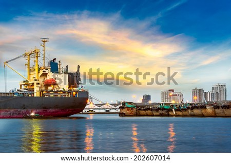 Shipping port with crane for container uploading - stock photo