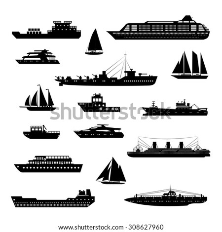 Ships and boats steamboat yacht and tanker freight industry decorative icons black and white set isolated  illustration - stock photo