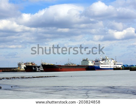 Ships and tankers are in port. Transport  background. - stock photo