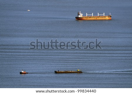 ships and tankers on the sea