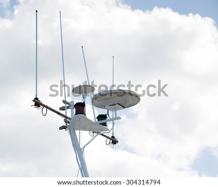 Ships antenna and navigation system - stock photo