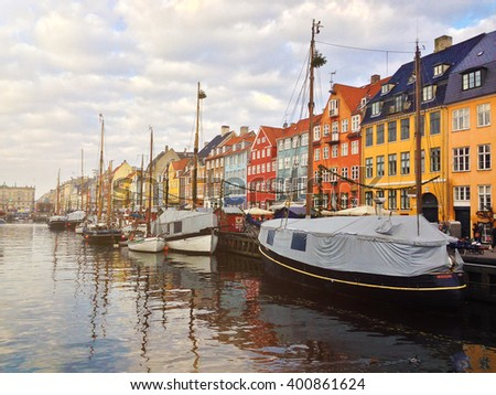 Ships at Nyhavn in Copenhagen - stock photo