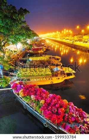 Ships at Saigon Flower Market at Tet, Vietnam