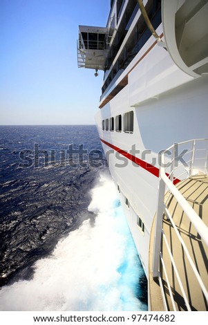 ships bow view with wave splash