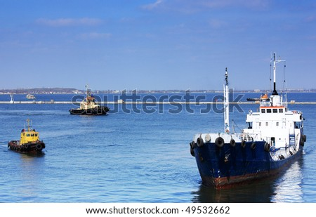 ships in area of water - stock photo