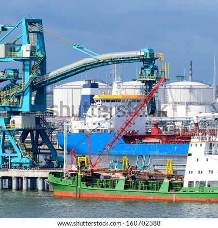 Ships in cargo port. Ventspils terminal, Latvia - stock photo