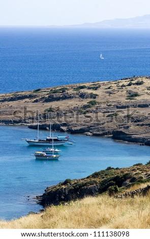 Ships in the Aegean sea - stock photo