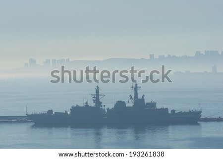 Ships in the early morning mist at Valparaiso, Chile - stock photo