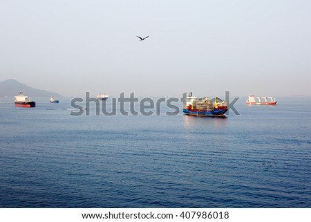 Ships in the Pacific ocean approach to Panama canal. - stock photo