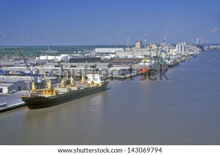 Ships in the Port of Savannah, Savannah, Georgia - stock photo