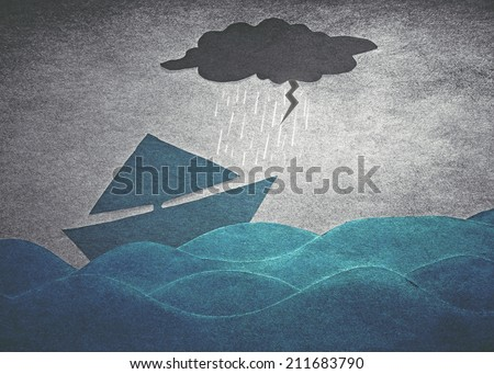 ships into the storm (retro paper style) - stock photo