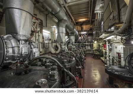 ships machine room - stock photo