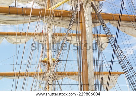 Ships rigging - stock photo