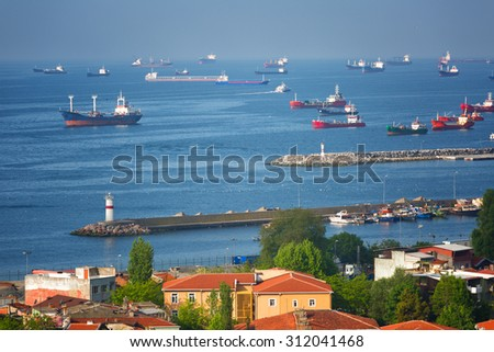 Ships stand on an anchor in the Sea of Marmara, Istanbul - stock photo