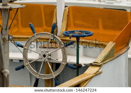 Ships Steering Wheel - stock photo