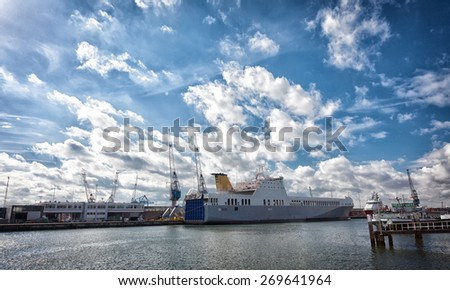 ships to stand in the cargo port of Rotterdam, Netherlands - stock photo