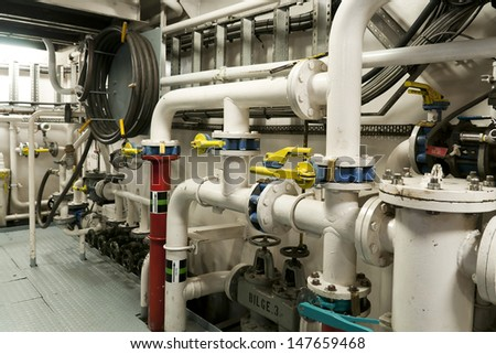 Ships valves, main engine - engineering interior